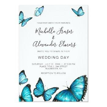 trendy blue watercolor butterflies. modern wedding invitation