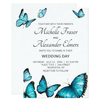 trendy blue watercolor butterflies. wedding invitation