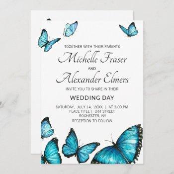 trendy blue watercolor butterflies. wedding invitation