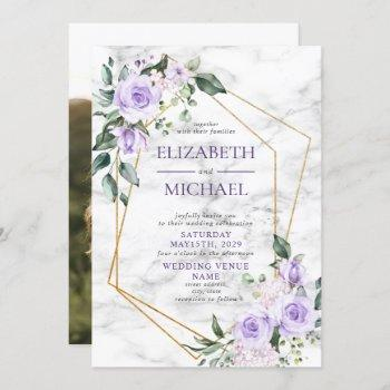 trendy gold geometric lilac floral marble photo invitation
