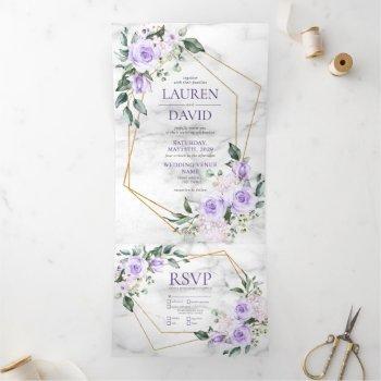 trendy gold geometric lilac floral marble tri-fold invitation