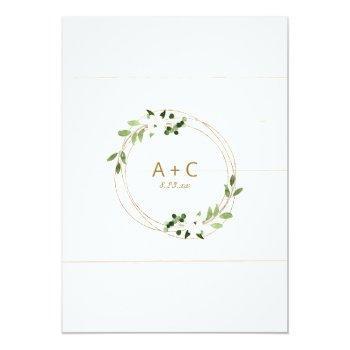 Small Trendy Wedding Invite Geometric Greenery Faux Foil Back View