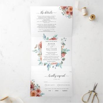 "tri-fold invitation with rsvp ""ethereal""  wedding"