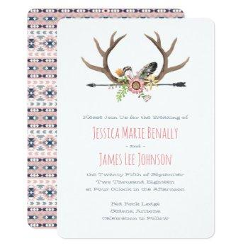 tribal arrow and antlers pink invitation