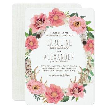 tribal bohemian floral wreath wedding invitations