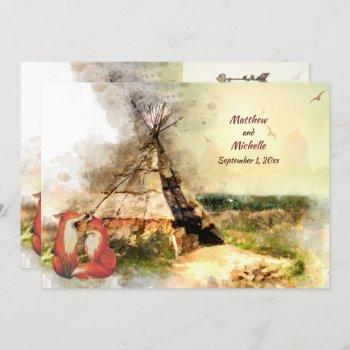 tribal tipi and foxes in love boho teepee wedding invitation