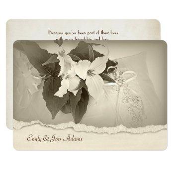 trillium in sepia tone wedding vow renewal invitation