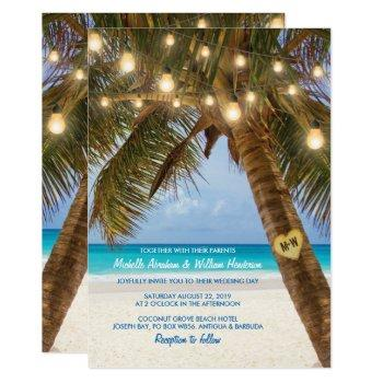tropical beach and string lights wedding invitation