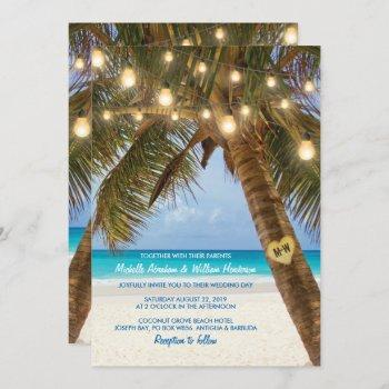 tropical beach and string lights wedding invitation