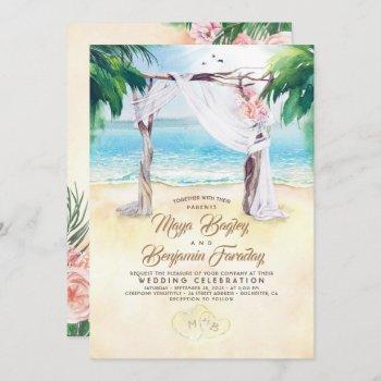 tropical beach arbor dreamy summer wedding invitation