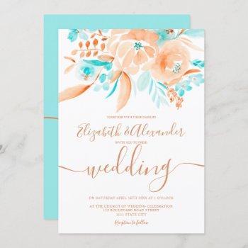 tropical beach blue coral floral chic wedding invitation