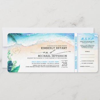 tropical beach heart shore wedding boarding pass invitation