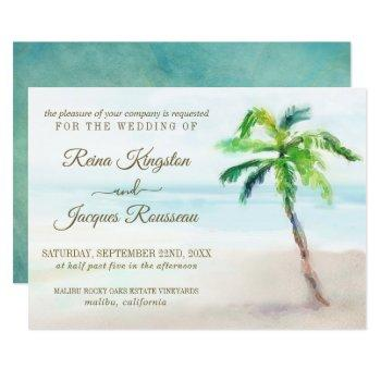 tropical beach palm tree watercolor wedding invitation