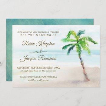 tropical beach palm tree watercolor wedding invitation