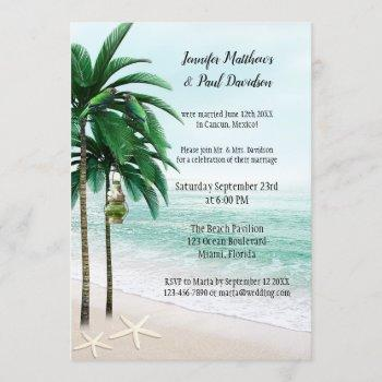 tropical beach palm trees post wedding party invitation