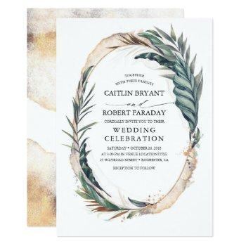tropical beach palm wedding invitation