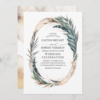 tropical beach palm wedding invitation