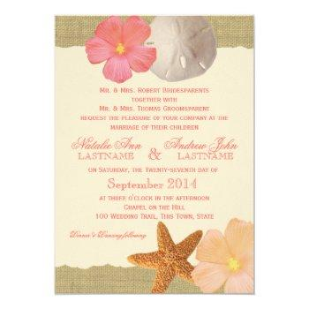 tropical beach rustic wedding invitation