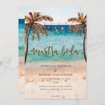 tropical beach scene nuestra boda invitation
