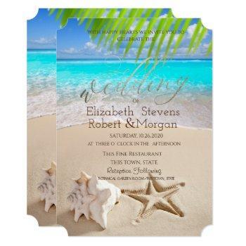tropical beach,seastar,seashell invitation