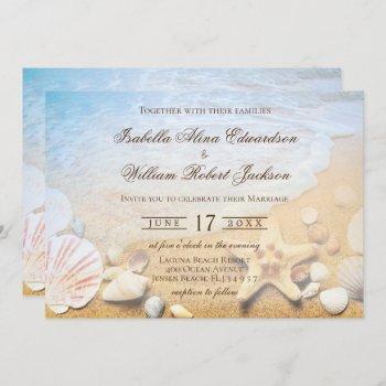 tropical beach starfish wedding invitation