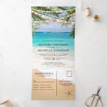 tropical beach string lights all in one wedding tri-fold invitation