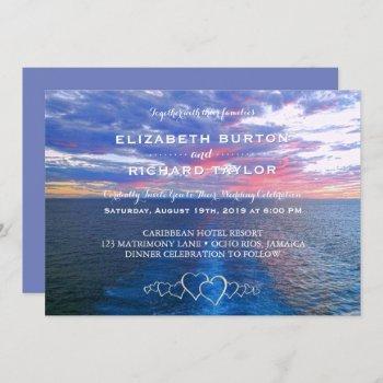 tropical beach wedding ocean sunset invitation