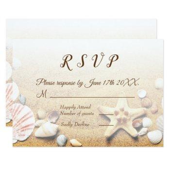 tropical beach wedding starfish shells rsvp invitation