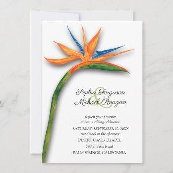 tropical bird of paradise botanical wedding invite