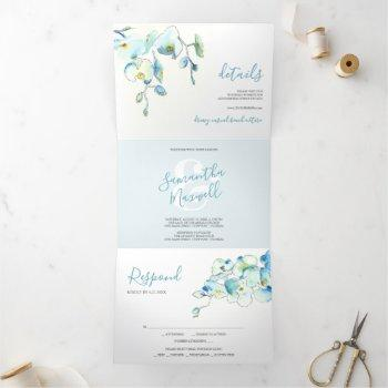 tropical blue orchid trifold wedding invitation