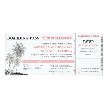 tropical boarding pass wedding tickets with rsvp invitation