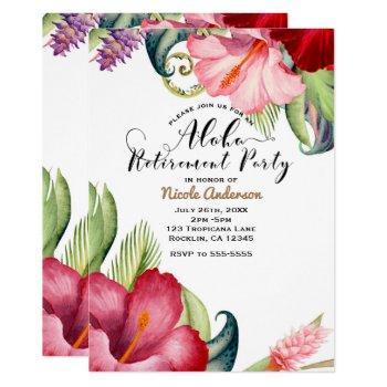 tropical botanical floral aloha retirement party invitation
