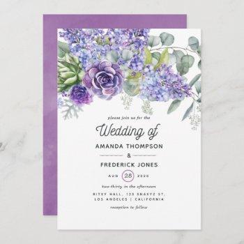 tropical eucalyptus succulents wedding invitation