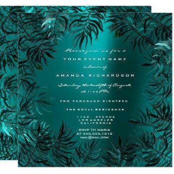 tropical fern leafs framed teal aquatic jungle invitation