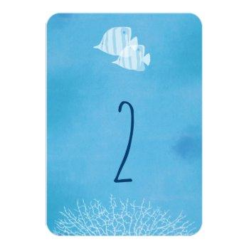 tropical fish watercolor wedding table number