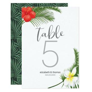 tropical floral wedding table number id475