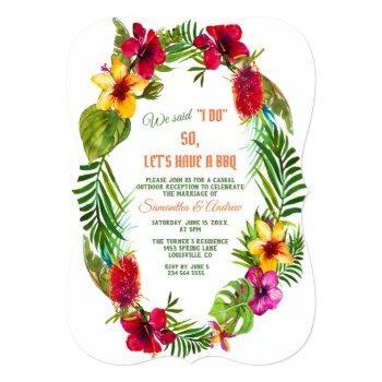 tropical floral wreath wedding i do bbq invitation