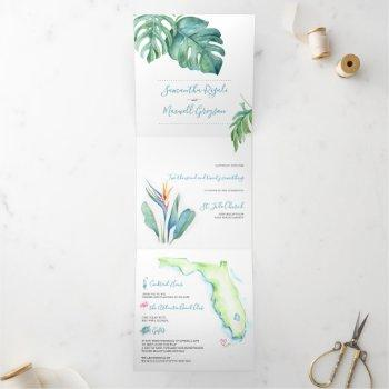 tropical florida wedding invitation all in one