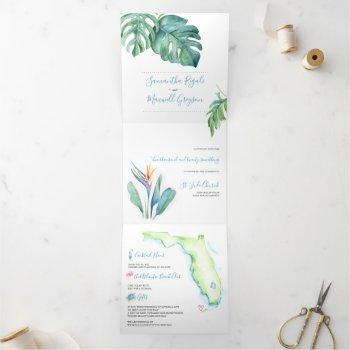 tropical florida wedding invitation all in one