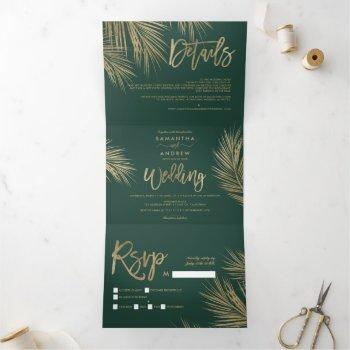 tropical green gold palm tree elegant wedding tri-fold invitation