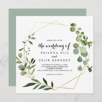 tropical green leaves the wedding of invitation