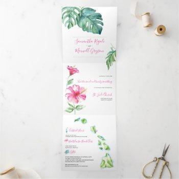tropical hawaii wedding invitation all in one