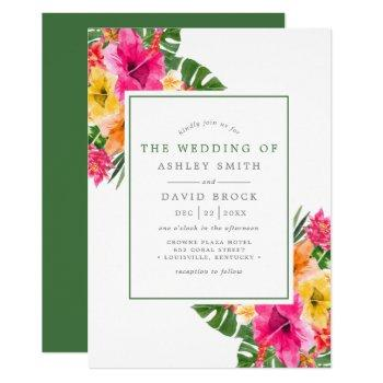 tropical hibiscus floral palm leaves wedding invitation