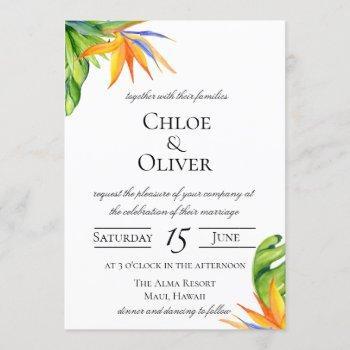 tropical island botanical wedding invitation