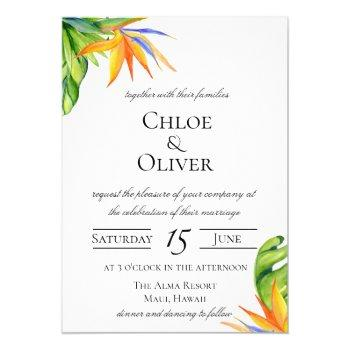 tropical island botanical wedding invitation