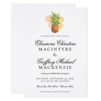 tropical island pineapple watercolor wedding invitation