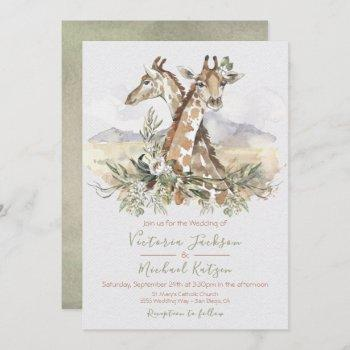 tropical jungle giraffe wedding invitations
