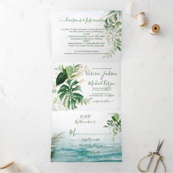 tropical leaves beach wedding tri-fold invitation