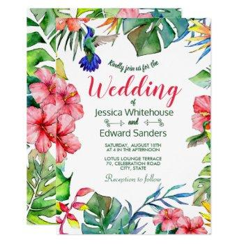 tropical leaves hibiscus hawaiian luau wedding invitation