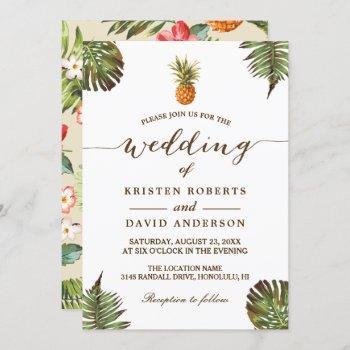 tropical leaves pineapple hawaiian luau wedding invitation